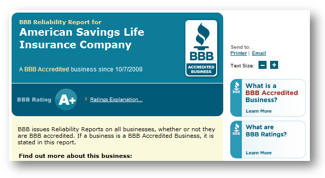 BBB Reliability Report: A+ Rating
